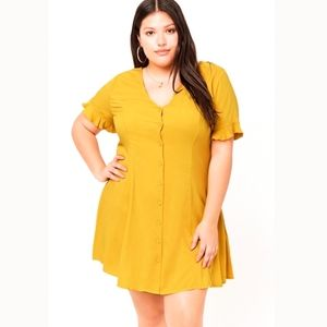 Forever 21 Mustard Button Front Ruffle Sleeve Mini